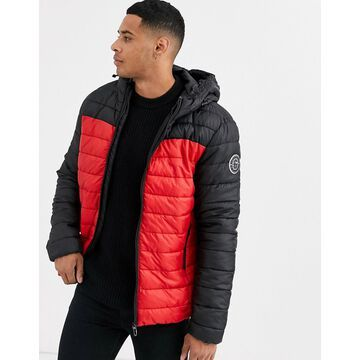 Only & Sons puffer jacket with red color blocking