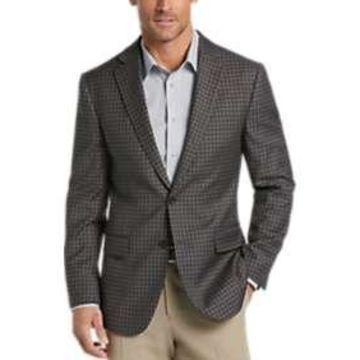 Egara Taupe Check Slim Fit Sport Coat