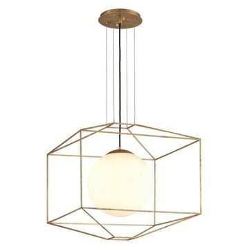 Silhouette, 5215 Pendant, Gold Leaf Finish, Gloss Opal Glass
