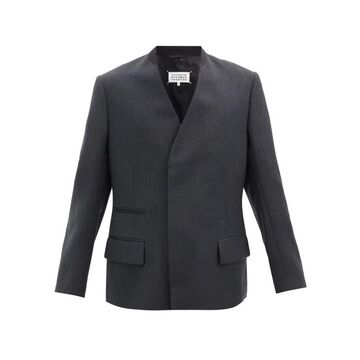 Maison Margiela - Concealed Double-breasted Wool Jacket - Mens - Dark Grey