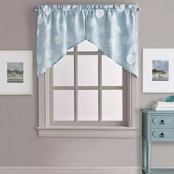 CHF Seashells Swag Window Valance, Turquoise/Blue, 54X30