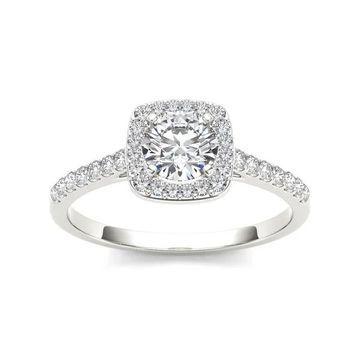 De Couer 14k White Gold 1ct TDW Diamond Halo Engagement Ring - White H-I