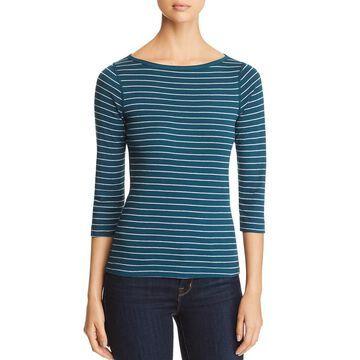 Three Dots Womens Striped 3/4 Sleeve T-Shirt