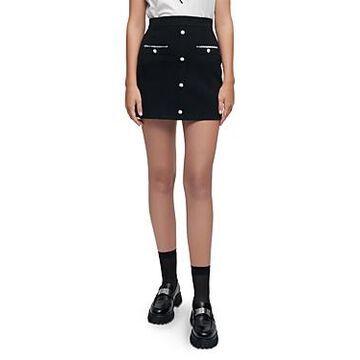 Maje Jidene Button Mini Skirt