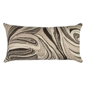 Rizzy Home Abstract Swirl I Oblong Throw Pillow, Lt Beige, 14X26