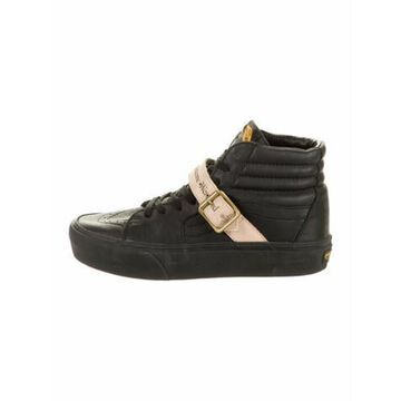 Leather Colorblock Pattern Sneakers Black
