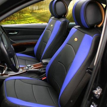 FH Group Ultra Comfort Leatherette 2 Front Seat Cushions, Blue and Black