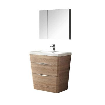 Fresca Senza 32-in White Oak Single Sink Bathroom Vanity with White Acrylic Top (Faucet Included) | FVN8532WK