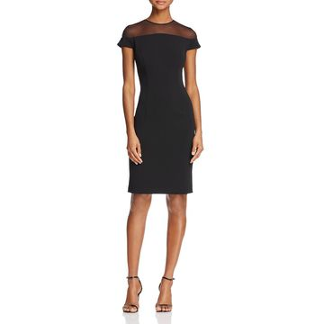 Carmen Marc Valvo Womens Knee-Length Illusion Cocktail Dress