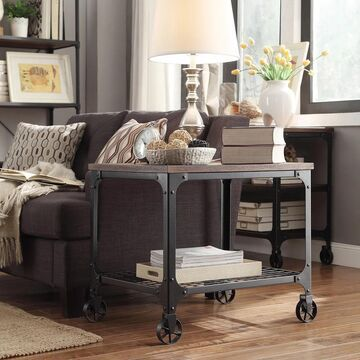 Nelson Rectangle Industrial Modern Rustic End Table by iNSPIRE Q Classic - End Table (Brown)