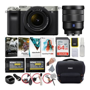 Sony Alpha a7C Full-Frame Compact Mirrorless Camera (Silver) Bundle with FE 28-60mm f/4-5.6 and 16-35mm f/4 ZA OSS Lens