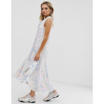 ASOS WHITE snake print sleeveless cowl neck midi dress-Multi