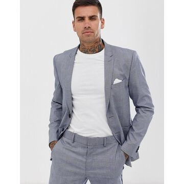 Only & Sons slim fit checked suit jacket-Gray