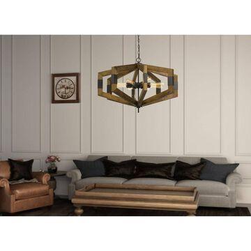 60W X 8 Varna Pine Wood Chandelier - Cal Lighting