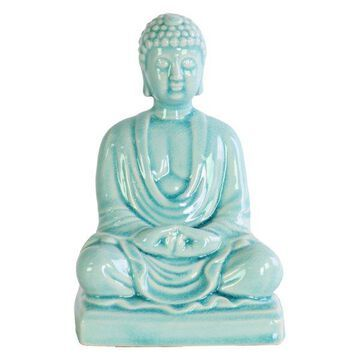 Ceramic Meditating Buddha Figurine, Sky Blue
