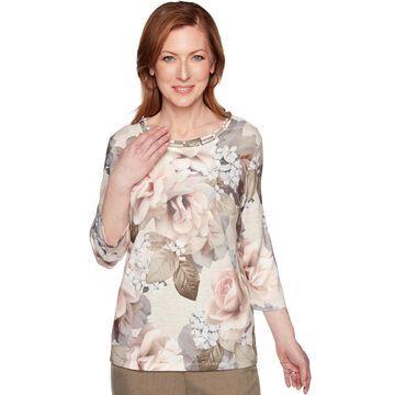 Women's Alfred Dunner Embellished Bold Roses Top