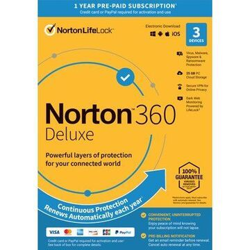 Norton 360 Deluxe, Antivirus Software, 3 Devices, 1 Year with Auto Renewal, PC/Mac Download