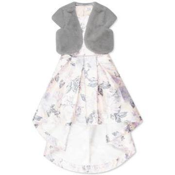 Speechless Big Girls 2-Pc. Faux-Fur Vest & High-Low Dress Set