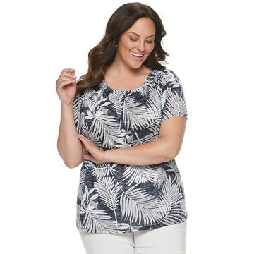 Plus Size Dana Buchman Smocked Scoopneck Top
