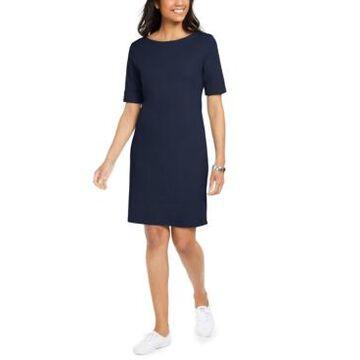 Karen Scott Petite Cotton Cuffed-Sleeve Dress, Created for Macy's