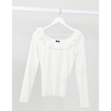 Vero Moda ribbed wide neck top with ruffles in white