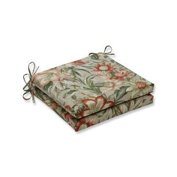 Indoor/Outdoor 2pc Botanical Glow Tiger Stripe Squared Corners Seat Cushion - Pillow Perfect