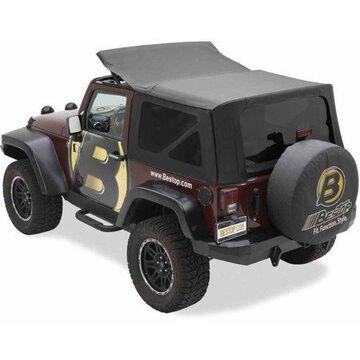 Bestop 79146-35 Jeep Wrangler 2-Door Sailcloth Rat, Black Diamond