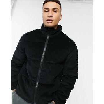 New Look puffer jacket in black corduroy