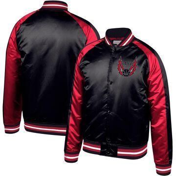Men's Mitchell & Ness Black Portland Trail Blazers Hardwood Classics Satin Raglan Full-Snap Jacket