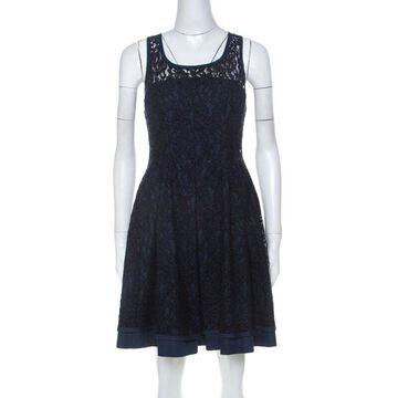 Philosophy di Alberta Ferretti Navy Blue Cotton Blend Sleeveless Lace Dress S