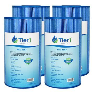 Tier1 Watkins 31489, Pleatco PWK30, Filbur FC-3915, Unicel C-6430 Comparable Replacement Antimicrobial Pool and Spa Filter for Watkins Spas (4-Pack)