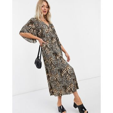 Liquorish plisse wrap dress in leopard print-Multi