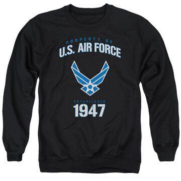 AF128-AS-5 Air Force & Property of-Adult Crewneck Sweatshirt, Black - 2X