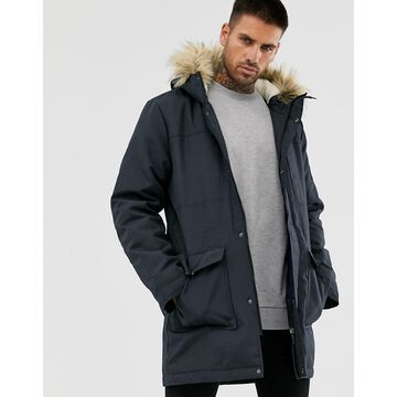 Only & Sons parka with fleece lined hood and removable faux fur-Navy