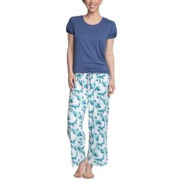 Muk Luks Solid Top & Printed Pants Pajama Set