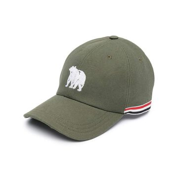 THOM BROWNE Bear embroidered RWB stripe baseball cap