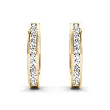 De Couer 10k Yellow Gold 1/3ct TDW Diamond Hoop Earrings
