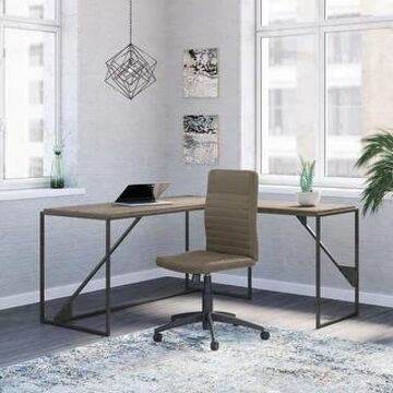 Bush Furniture Refinery L Shaped Desk with Ribbed Leather Office Chair (Restored Gray)