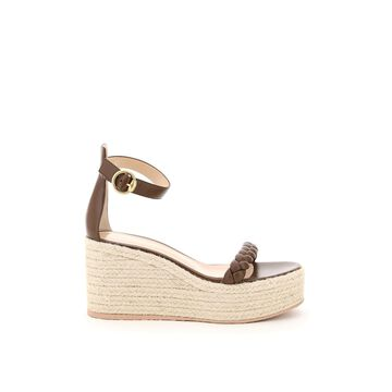 Gianvito Rossi Leather Sandals With Rope Platform