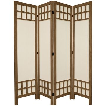Oriental Furniture 5 1/2 ft. Tall Fabric Pane Room Divider - Grey - 4 Panel