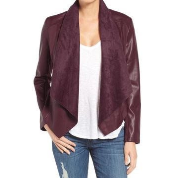 Kut from the Kloth Womens Faux-Leather Draped Jacket