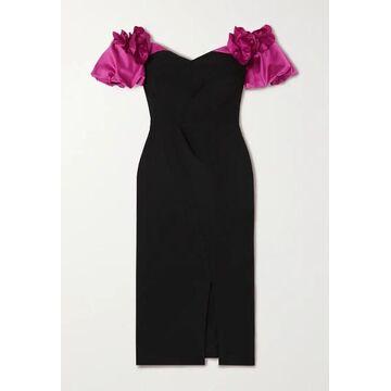 Marchesa Notte - Off-the-shoulder Satin-trimmed Crepe Dress - Black