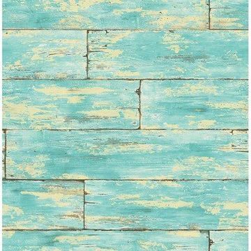 Kenneth James Shipwreck Aquamarine Wood Wallpaper