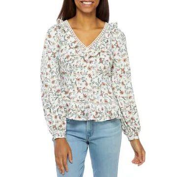 American Rag Women's Floral Long Sleeve Ruffle V-Neck Top -