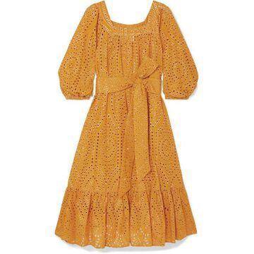 Lisa Marie Fernandez - Laura Broderie Anglaise Cotton Midi Dress - Orange