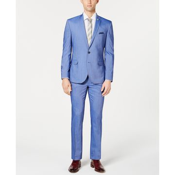 Bright Blue Chambray Solid Slim-Fit Suit