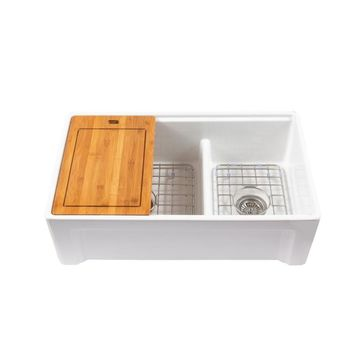 Empire Industries Tosca Farmhouse Apron Front 33-in x 20-in White Double Offset Bowl Workstation Kitchen Sink