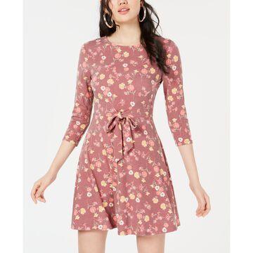 Juniors' Printed Tie-Waist Dress