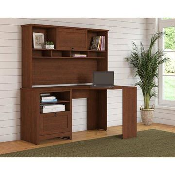 Bush Furniture Buena Vista Corner Desk with Hutch in Serene Cherry