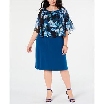 Plus Size Cape Overlay A-Line Dress